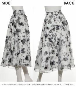 セルフォード CELFORD モノトーン花柄ボリュームスカート スカート ひざ丈 フレアスカート 花柄 スカート 春 お呼ばれ