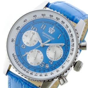 レビューで次回2000円オフ 直送 グランドール GRANDEUR 日本製 made in japan クロノ クオーツ メンズ 腕時計 JOSC028W5 ブルー