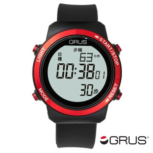 レビューで次回2000円オフ 直送 グルス GRUS 歩幅計測機能付 ウォーキングウォッチ GRS001-01 ブラック/レッド