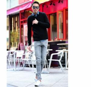 ◆2枚目半額◆送料無料◆ ニット メンズ セーター Vネック クルーネック タートルネック ケーブル編み 長袖 秋 冬 ボーダー trend_d