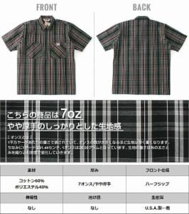 BEN DAVIS ベンデイビス ワークシャツ メンズ 半袖 チェック柄 ハーフジップシャツ 半袖シャツ シャツ メンズ 半袖