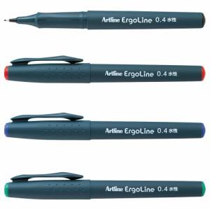 (まとめ買い)シヤチハタ エルゴライン サインペン 0.4 赤 K-3400アカ 〔10本セット〕