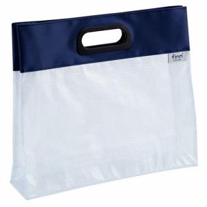 (まとめ買い)セキセイ フィンダッシュ デスクデスクバッグ A4 ヨコ ネイビーブルー FINN-7701-15 〔3冊セット〕