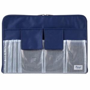 (まとめ)セキセイ フィンダッシュ バッグインバッグ A4 ネイビー FINN-7721-15 〔まとめ買い×3セット〕