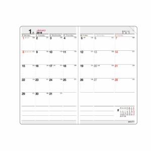 (まとめ)コレクト 手帳 2018年 マンスプログラム 見開き1ヶ月 グレー 5×3 ブロックタイプ D-14-GY 〔まとめ買い×5セット〕