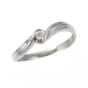 0.05ctピンクダイヤリング 指輪 ウェーブ 19号