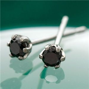 K18 0.1ctブラックダイヤモンドピアス