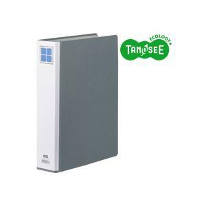 (まとめ)TANOSEE 両開きパイプ式ファイルE A4タテ 40mmとじ グレー 30冊