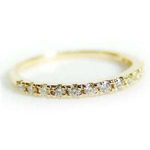 ダイヤモンド リング ハーフエタニティ 0.2ct 9号 K18 イエローゴールド ハーフエタニティリング 指輪