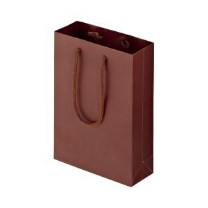 (まとめ) TANOSEE マットコート手提げ袋 SS ヨコ180×タテ250×マチ幅70mm ブラウン 1パック(10枚) 〔×5セット〕