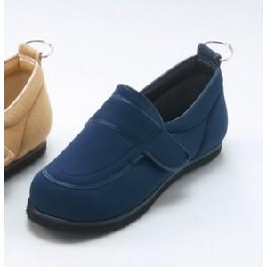 介護靴/リハビリシューズ ネイビー(紺) LK-1(外履き) 〔片足22cm〕 3E 左右同形状 手洗い可/撥水 (歩行補助用品) 日本製