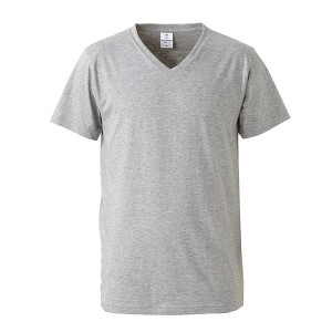 深すぎす浅すぎないVネックTシャツ2枚セット (ブラック+ヘザーグレー) M