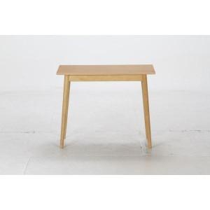 北欧風 シンプルデスク/リビングテーブル 〔幅90cm〕 ナチュラル 引き出し1杯付き 木製脚付き 『ルレーヴェ』