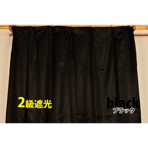 シンプル遮光カーテン/目隠し 〔2枚組 100×200cm/グリーン〕 洗える 『フィリー』