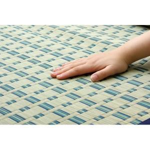 掛川織 い草カーペット 『雲仙』 ブルー 江戸間4.5畳(261×261cm)