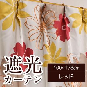 南国風遮光カーテン/目隠し 〔2枚組 100×178cm/レッド〕 花柄 洗える 『ソラン』