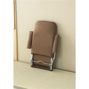 和風折りたたみ肘付き座椅子ブラウン (いこい)