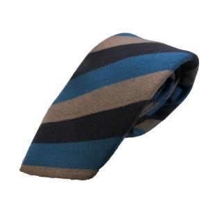 ウール混秋冬シルクネクタイ Clarkプレミアム 手縫い仕立て 西陣ネクタイ ブルー×グレーストライプ
