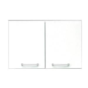食器棚(キッチン収納庫) 〔上置き付き〕 幅60cm 飛散防止ガラス扉/可動棚付き 日本製 ホワイト(白) 〔完成品 開梱設置〕