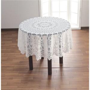 撥水加工レーステーブルクロスホワイト 直径150cm円形