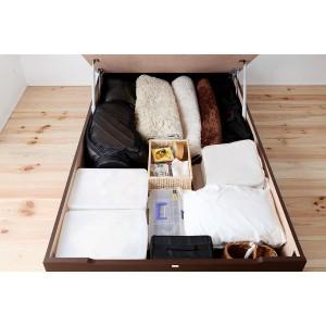 国産 ガス圧 跳ね上げ式ベッド(ポケットコイルマットレス付き)ショートセミシングル ブラウン