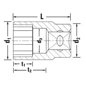 STAHLWILLE(スタビレー) 50A-1.1/16 (1/2SQ)ソケット (12角) (03410050)