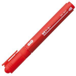 (まとめ) TANOSEE キャップ式油性マーカー シングル 細字 赤 1セット(10本) 〔×10セット〕