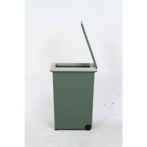プッシュ式ダストボックス/ゴミ箱 〔30L カーキ〕 幅37cm ポリプロピレン製 キャスター付き 『アルフ』