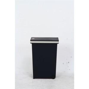 プッシュ式ダストボックス/ゴミ箱 〔30L ネイビー〕 幅37cm ポリプロピレン製 キャスター付き 『アルフ』
