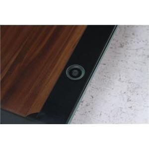 ガラス製リビングテーブル/ダイニングテーブル 〔ダークブラウン 幅80cm〕 強化ガラス天板 スチールフレーム 棚板付 『クレア』