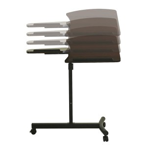 サイドテーブル 幅72.5cm キャスター付き 6段階昇降式/天板角度4段階調整可