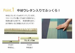 い草ラグカーペット  約2畳 正方形  『CXレンガ』 ブラウン 約180×180cm (裏:不織布)