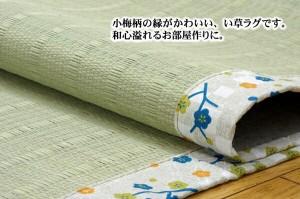 い草ラグカーペット 『D×小梅』 ブルー 約180×240cm(裏:不織布)