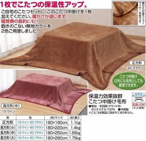 保温力効果抜群こたつ中掛け毛布 〔長方形(大)〕 180cm×280cm ブラウン