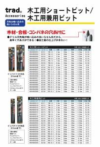 (業務用5個セット) TRAD 木工用兼用ビット/先端工具 〔穴径:12mm〕 インパクト12V対応 TWK-12.0 〔DIY用品/大工道具〕