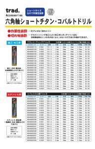 (業務用75個セット) TRAD 六角軸ショートコバルトドリル/先端工具 〔ステンレス用〕 穴径:1.5mm TCD-1.5 〔DIY/大工道具〕