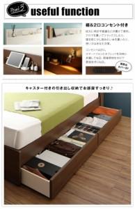 工具いらずの組み立て・分解簡単収納ベッド 〔Lacomita〕 〔ベッドフレームのみ・マットレスなし〕 セミダブル ブラウン