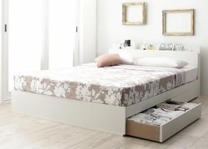 4口コンセント付き収納ベッド 〔Dublin〕 〔プレミアムポケットコイルマット付〕 シングル ホワイト 〔マット〕ホワイト