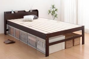 部屋の中で布団が干せる 高さ調節付き天然木すのこベッド 〔refune〕リフューネ シングル 〔フレーム色〕ダークブラウン