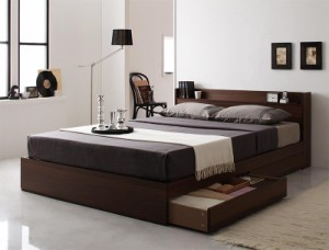 コンセント付き収納ベッド 〔Ever〕 〔プレミアムボンネルコイルマットレス付き〕 ダブル ナチュラル 〔マットレス〕黒