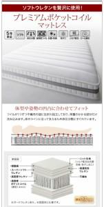 フロアローステージベッド 〔Renita〕 〔プレミアムポケットコイルマット付〕 セミダブル ホワイト 〔マットレス色〕白