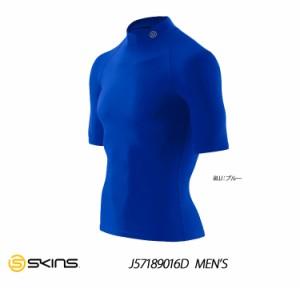 スキンズ メンズ ショートスリーブトップ モックネック ブルー SKINS J57189016D