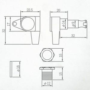 Aria(アリア) ベース用ペグセット(3対3) 「AT-350B カラー:クローム」AT350B