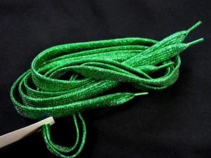 ◎ 靴ひも(靴紐) シューレース キラキラ ラメ グリーン SHOELACE ETSR-024