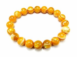 石街子宝繁栄AAA-ゴールドマザーオブパール10mm数珠ブレスレット
