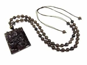 超迫力天然石アイス種レインボーオブシディアン龍頭精工彫りネックレス