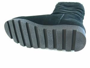 ムートンブーツ 本革ブーツ レディース ロングブーツ 厚底折り返し ボア あったか (ブラック)