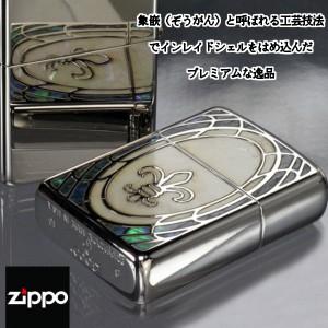 【送料無料】【ZIPPO】アーマーシェル・インレイ リリー・ユリ/貝貼り加工