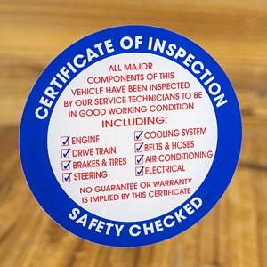 ステッカー 車 アメリカン バイク ヘルメット オイル 点検証 整備 車検 INSPECTION 裏貼り ブルー_SC-010-FEE