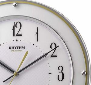 RHYTHM 電波掛け時計 ミレディサヤカ 8MY510SR03 連続秒針(夜眠る秒針) 白 ホワイト 七宝模様 アナログ